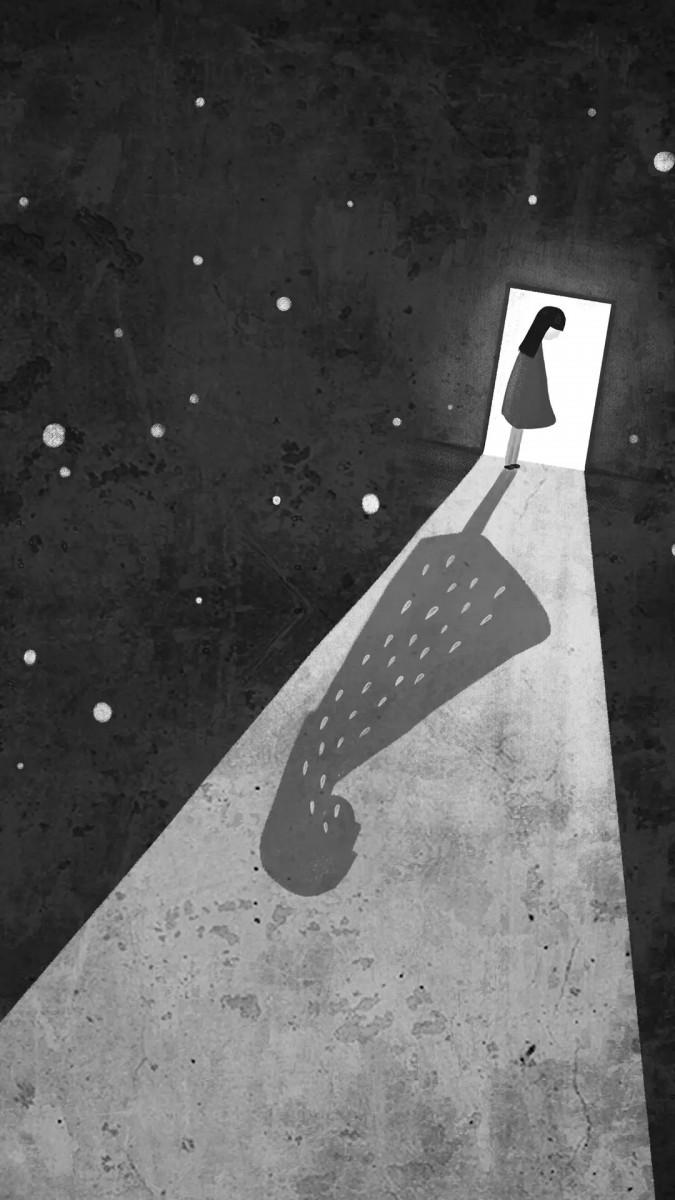 ناراحت-سیاه و سفید-دختر-دختر بچه-شب-تنهایی