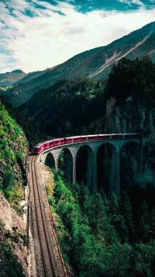 قطار-منظره-ریل قطار-کوه