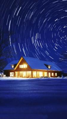 ویلا-شب-برف-برفی-زمستان-آبی