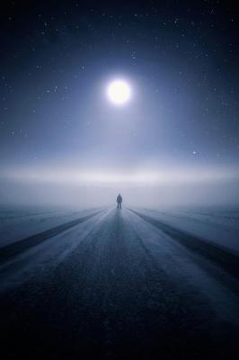 ماه-برف-برفی-جاده-آسمان-شب
