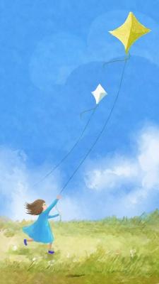 آسمان-بادکنک-بچه-دختر بچه-آبی