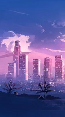 شهر-صورتی-بنفش-شب