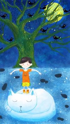 آبی-پسر-پسربچه-گربه-درخت