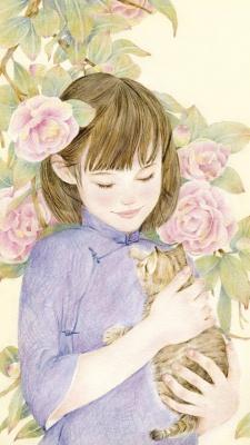دختر-گربه-گل