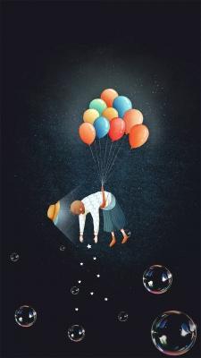 بادکنک-دختر-حباب-پرواز-مشکی-سیاه