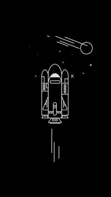 موشک-مشکی-سیاه-فضا-سیاه و سفید