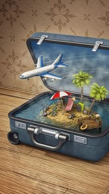 هواپیما-چمدان-جزیره-نخل-درخت نخل-ساحل