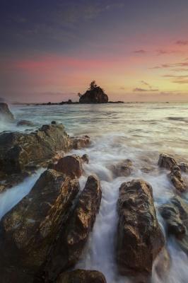دریا-صخره-سنگ-غروب-ساحل