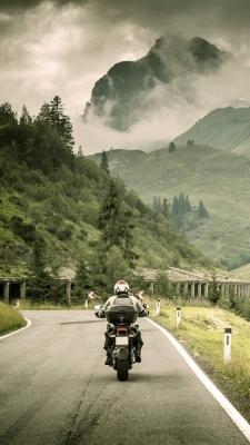 موتور سواری-موتور-سبز-جنگل-جاده