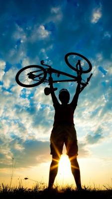 دوچرخه سواری-دوچرخه-موفقیت-آبی-آسمان-طلوع